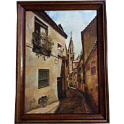 Deserted European Street Scene, Oil Painting on Canvas Monogrammed by Artist