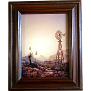 Rillie Moseley, Desert Water Well WindMill, Original Oil Painting on Canvas by Texas Artist