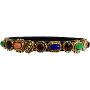 """Colorful Multicolored Rhinestone Black Bracelet with Safety Chain 7"""""""