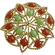 """Signed Sarah Coventry Pin Moroccan Flower Green Red & Gold-Tone 2"""""""