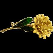 """Vintage Beautiful Yellow Enamel Flower Metal Pin 2-3/4"""""""