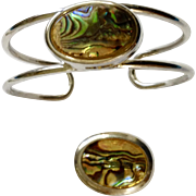 Gorgeous Abalone Shell Silver-Tone Bracelet and Matching Pendant Set