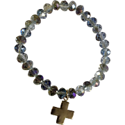 Crystal Blue Aurora Borealis Bracelet with 925 Sterling Silver Charm