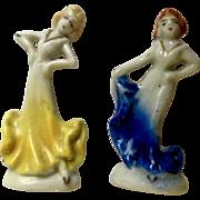 Occupied Japan Porcelain Figurines Beautiful Brunette and Blonde Women Dancing