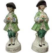 Occupied Japan Porcelain Figurines European Man Suitor with Bouquet of Flowers