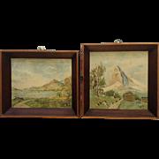 Rhine River below Burg Drachenfels Germany and Matterhorn Switzerland Small Oil Paintings Monogrammed by Artist 1910's - 1930's