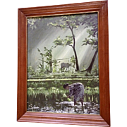 Thomas Nelson Asian Oil Painting Rice Paddies with Figural's Working Signed by Artist 1975