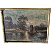 1920's Lake Scene with Boat on Moon Lit Water and Cabin on Shore Pastel Painting Works on Paper