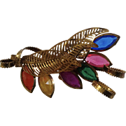 Light Weight Floral Design Multicolored Faux Stones Brooch Pin 2-1/4""