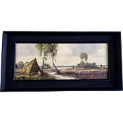 Rural Path by Thatched Home German Meadow Landscape Oil Painting on Board