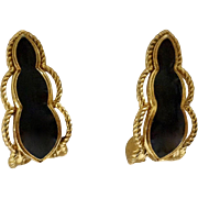 Dama Black & Gold-Tone Pierced Earrings 1-1/2""