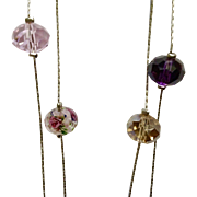 """Gorgeous Crystal Millefiori Pink Purple Long Silver-Tone Necklace 51"""""""