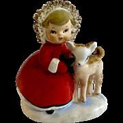 Vintage Norcrest Christmas Girl Feeding Deer Animal Spaghetti Figurine Fine China Japan F-90