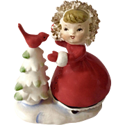 Vintage Norcrest Christmas Girl With Red Bird on Snow Covered Tree Spaghetti Figurine Fine China Japan F-90