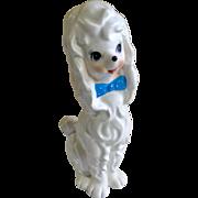 Vintage Napcoware White Poodle Dog with Blue Polkadot Bow Planter Figurine Napco C-6568