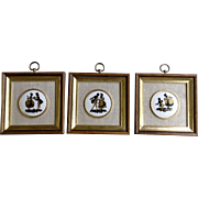 Victorian Style Silhouette Figural Proposal Black and Gold Framed Tiles B & S Creations 1980's Porcelain