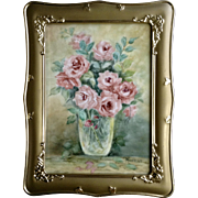 Monello, Floral Still Life Painting Pink Rose Flowers Hand Painted Porcelain Tile in Gold Frame Signed by Artist