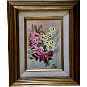 Still Life Floral Bouquet of Pink Roses and Yellow Daffodils Oil Painting on Canvas Signed by Artist Lee