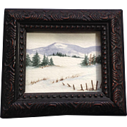 Miniature Snow Landscape Watercolor Painting Monogramed by Artist D.W.