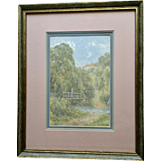 J. E. Ord, Impressionism Landscape Figural Watercolor Painting 'The Ford Glaisdale', Signed by Listed English / Scottish Artist