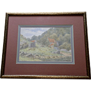 J. E. Ord, Impressionism Landscape Roosters in Rural Countryside Cottage Watercolor Painting, Signed by Listed English / Scottish Artist