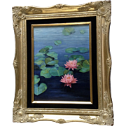 L Monello, Pink Water Lily Flowers in a Pond Oil Painting on Canvas Signed by Artist