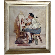 20th Century Oil Painting of Colonial Man Easel Painting a British Redcoat Soldier