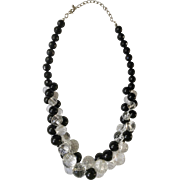 Nice Black & Clear Plastic Beaded Cluster Necklace with Silver-tone Chain Costume Jewelry