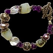 """Pretty Silver-tone Amethyst & Moon Glow Colored Bracelet 7-3/4"""""""