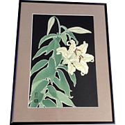 Hanmoto Uchida, Lily Flowers Japanese Woodblock Print Signed by Artist Monogramed Stamp