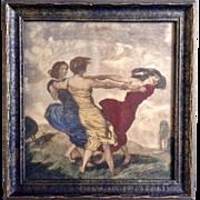 Franz Von Stuck (1863-1928) The Merry Dancers, Antique Sepia Lithograph Aquatint Print