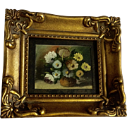 Vintage Miniature Floral Motif Oil Painting in Small Gold Frame