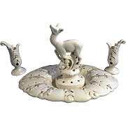 Vintage Red Wing Deer Flower Frog 526 Candlestick Holders 4 pc set Centerpiece Console Bowl Eggshell Cream & Brown 1936 - 1955  U.S.A. Pottery