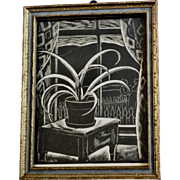 1920's-1930's  Black and White Print of Potted Plant on Table Newman's Emporia, Kansas