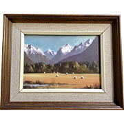 E. J. Thomas, Sheep Grazing in Eglinton Valley Field with Snowcapped Peaks, Landscape Oil Painting on Board Signed by New Zealand Artist