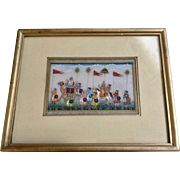 Mughal Procession India Painting on Marble Slab 1950's