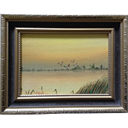P. Bull, Painting, Mallard Ducks in Flight Over a Lake with Windmill in Background, Original Watercolor Works on Paper Signed by Dutch Artist