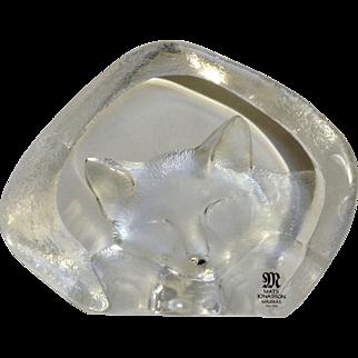 Mats Jonasson Kitty Cat Sleeping Full Lead Crystal Glass Maleras Sweden Signed by Artist #3733