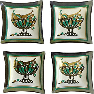 """Mid-Century Miniature Nut, Mint, Candy Glass Dishes Fruit Bowl Motif 2-1/2"""" Set of 4"""