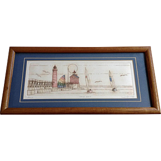 Susan Shepard, Grand Haven Lighthouse with Sailboats and Seagulls on Lake Michigan Etching Signed by Artist
