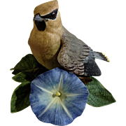 Lenox Waxwing Bird on Morning Glory Flowers Fine Porcelain Bird Figurine