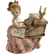 Vintage Josef Original Girl Playing Piano Music Box Porcelain Figurine Plays Humoresque