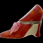 Retired HMK LIC Trinket Box Pink Shoe, Queen of Sole Inside Porcelain Hallmark Figurine