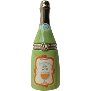 Retired HMK LIC Trinket Box Champaign Bottle, Word Bubbly Inside Porcelain Hallmark Figurine