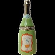 Retired HMK LIC Trinket Box Champaign Bottle, Word Bubbly Inside Porcelain Hallmark Figurine