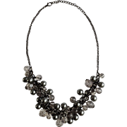 """Vintage Faux Gray Pearl and Clear bead Necklace 19-1/2 """" Adjustable"""