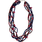 "Vintage Cranberry & Navy Blue Six Strand Gold -Tone Necklace 30"""