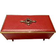 Vintage Gorgeous 1960's Oscar Heiss Co. Music Box Faux Red Ruby & Faux Red Leather Plays Dr. Zhivago Lara's Theme Fine Imports