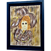 Francois Paris, French Big Eye Girl Mixed Media Painting 1960's Newspaper Decoupage Signed by Artist