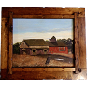 Old Red Barn Landscape Oil Painting on Board Monogrammed
